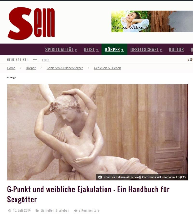 """Zeitschrift """"SEIN"""" Interview """"G-Punkt und weibliche Ejakulation – Ein Handbuch für Sexgötter"""" – Juni 2014"""