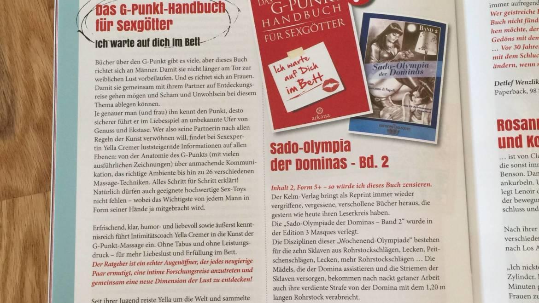 """Juli 2017 Schlagzeilen Nr. 156: Buchbesprechung für """"Das G-Punkt Handbuch für Sexgötter"""""""