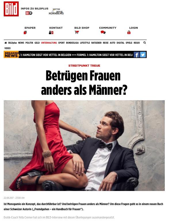 22. August 2017 Bild+ – Betrügen Frauen anders als Männer?