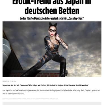 """2018-08-16 Bild Online """"Erotik-Trend aus Japan in deutschen Betten: Jeder fünfte Deutsche interessiert sich für """"Cosplay-Sex"""""""""""