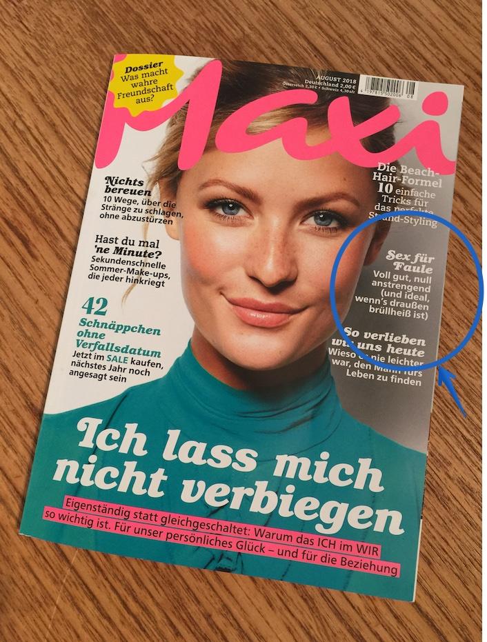 """2018 August – MAXI """"Sex für Faule"""""""