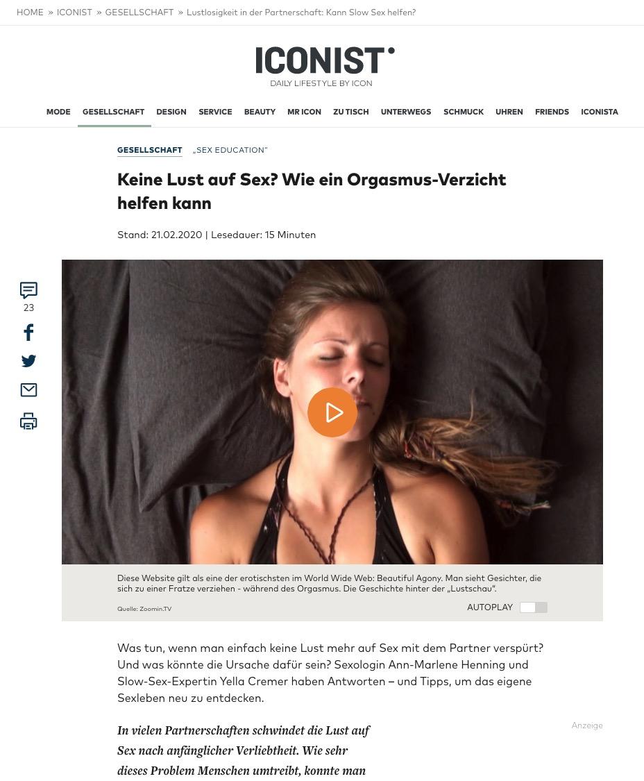 """21 .02.2020 – Die Welt – Iconist – """"Keine Lust auf Sex? Wie ein Orgasmus-Verzicht helfen kann"""""""