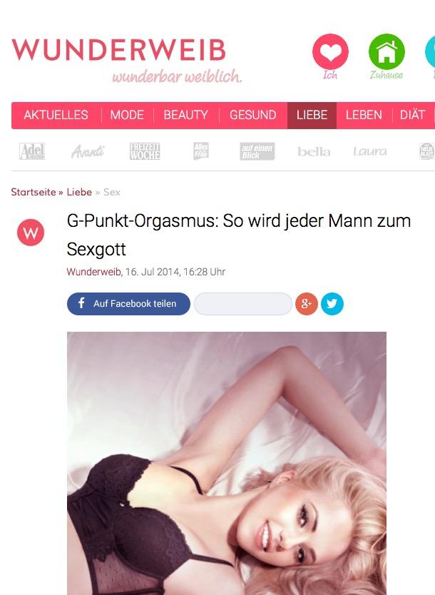 """Zeitschrift """"Wunderweib"""" Interview: G-Punkt-Orgasmus: So wird jeder Mann zum Sexgott – 16. Juli 2014"""