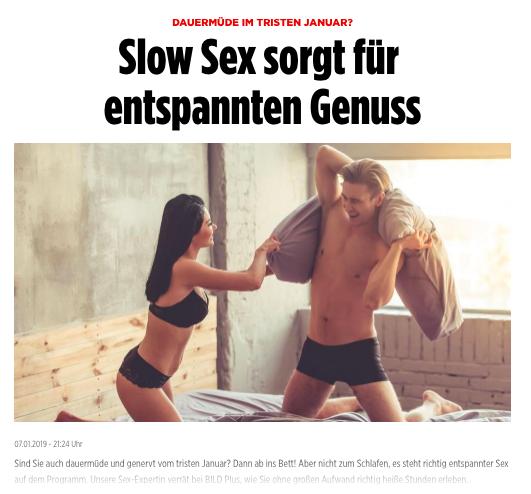 """2019-01-07 Bild Online: """"Dauermüde im tristen Januar? SlowSex sorgt für entspannten Genuss"""""""