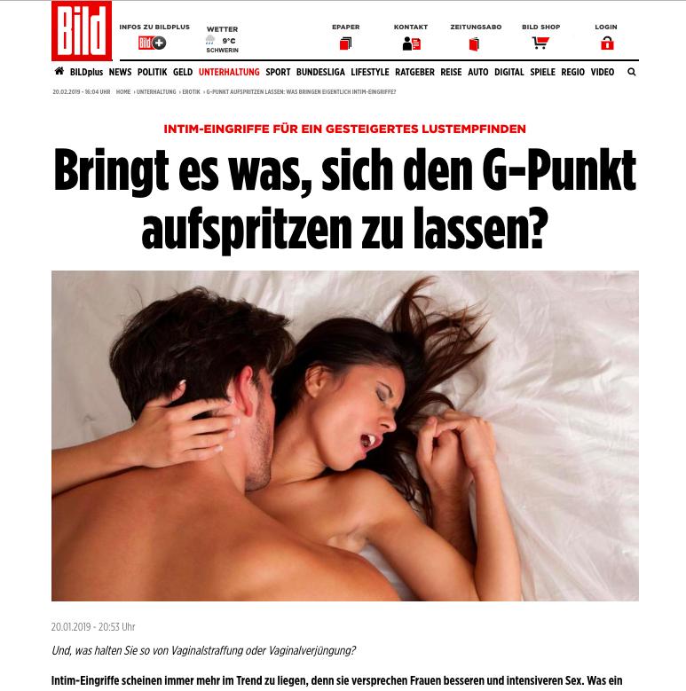 """2019-01-21 Bild Online: """"G-Punkt aufspritzen lassen – was bringen eigentlich Intimeingriffe?"""""""