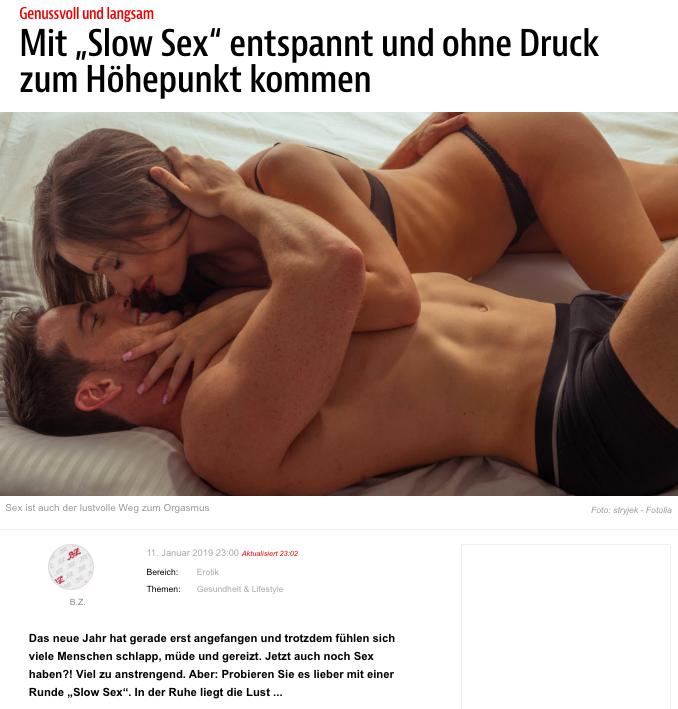 """2019-01-11 BZ Online: """"Mit SlowSex entspannt und ohne Druck zum Höhepunkt kommen"""""""