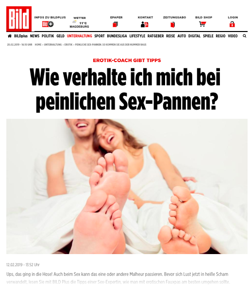 """2019-02-12 Bild Online: """"Wie verhalte ich mich bei peinlichen Sex-Pannen?"""""""